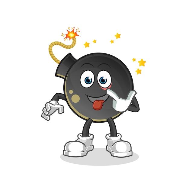 Bomba se ríe y se burla del personaje. mascota de dibujos animados Vector Premium