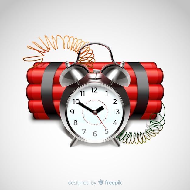 Bomba de tiempo roja estilo realista vector gratuito