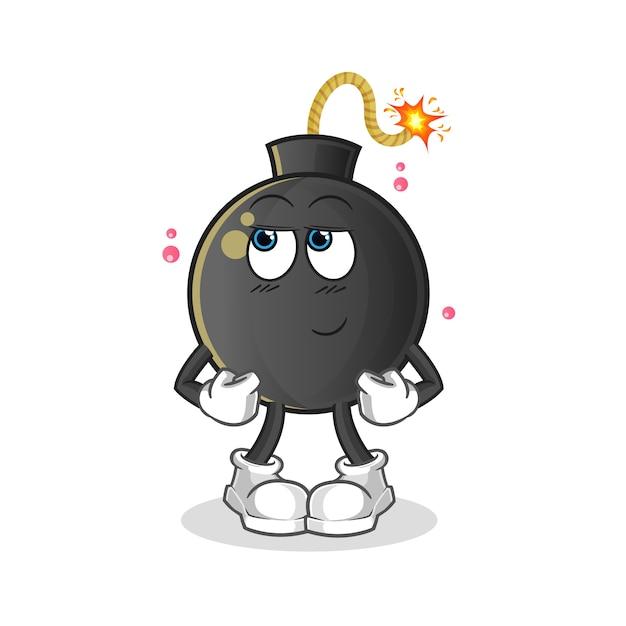 Bombardeo tímido. personaje animado Vector Premium