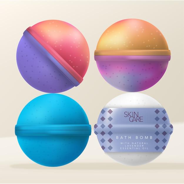 Bombas de baño o fizzers de baño con envoltura retráctil impresa con diseño de diamante. Vector Premium