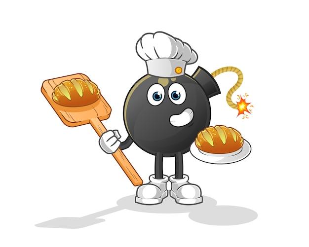 Bombero panadero con dibujos animados de pan. mascota de dibujos animados Vector Premium