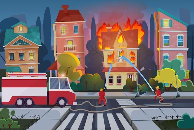 Los bomberos con el camión de bomberos del motor extinguen la casa civil en la ciudad Vector Premium