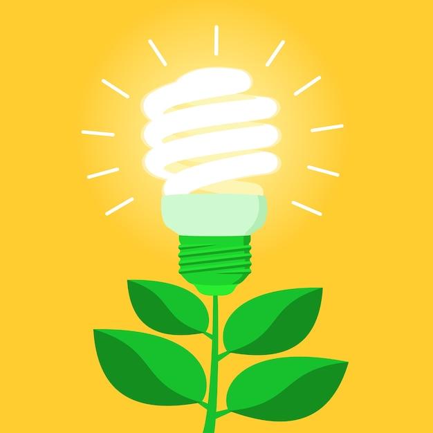 Bombilla de bajo consumo de energía verde cfl vector gratuito