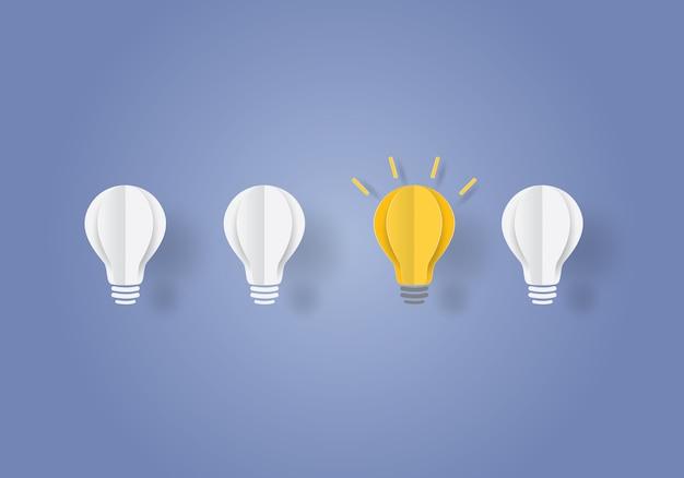 Bombilla de luz concepto inspiración empresarial Vector Premium