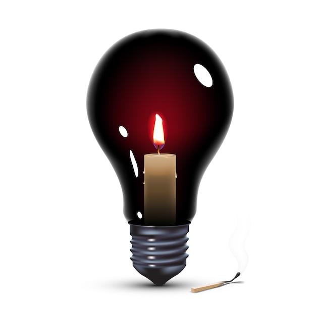 Bombilla de luz negra con vela en el interior Vector Premium