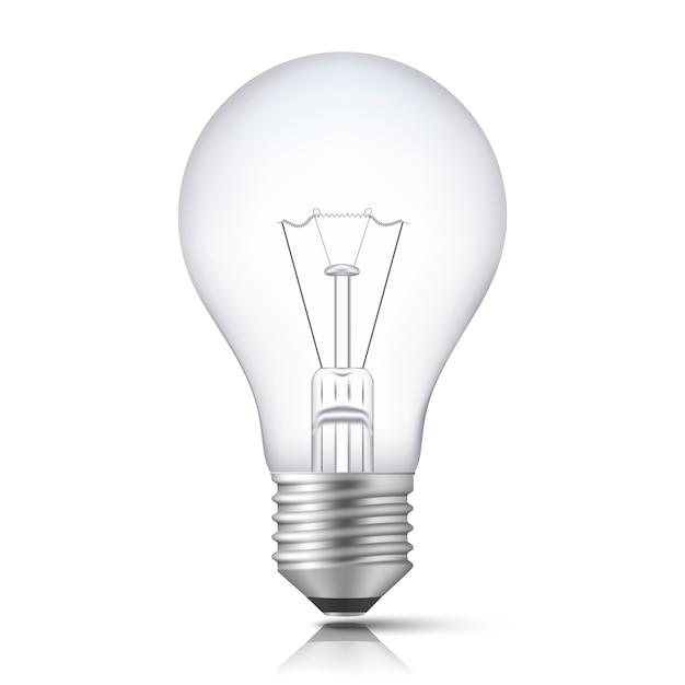 Bombilla de luz realista aislada vector gratuito
