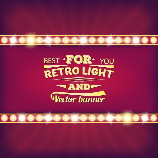 Bombilla de luz retro vector discurso burbuja banner. Vector Premium