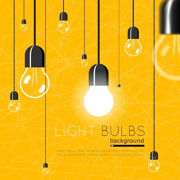 Bombillas. concepto de idea. energía de energía, luz brillante de electricidad vector gratuito