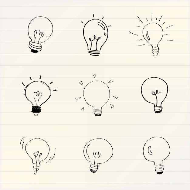 Las bombillas creativas doodle colección vector vector gratuito