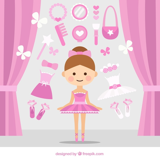 Bonita bailarina con accesorios rosa vector gratuito