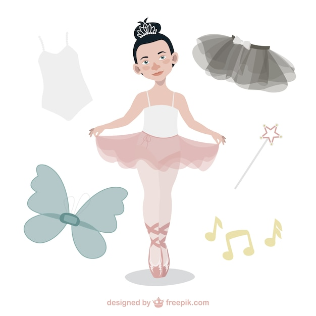 Bonita bailarina de ballet con accesorios vector gratuito
