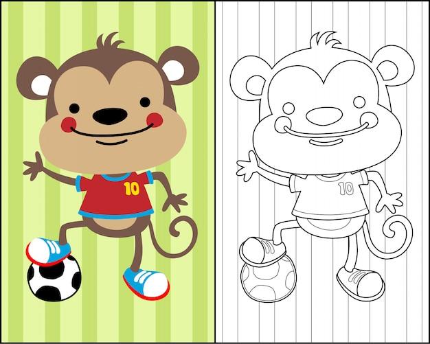 Imagenes Para Colorear Caricaturas: Bonita Caricatura De Mono En Vector De Libro Para Colorear