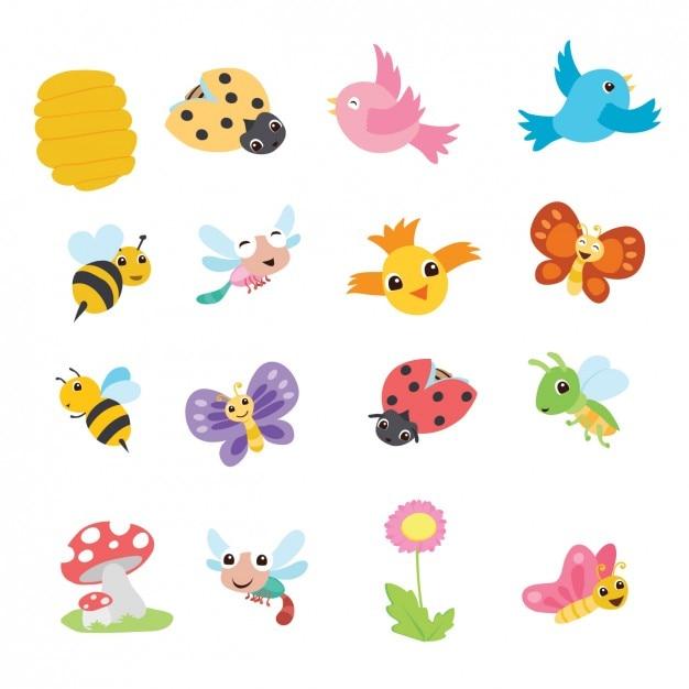 Bonita colección de animales de dibujo de primavera Vector Gratis