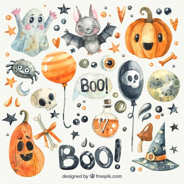 Bonita colección de halloween de acuarela vector gratuito