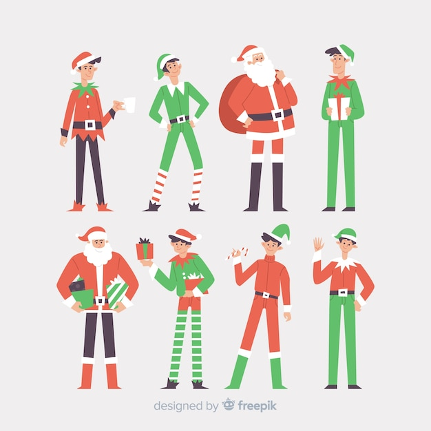 Bonita colección de personajes navideños. vector gratuito