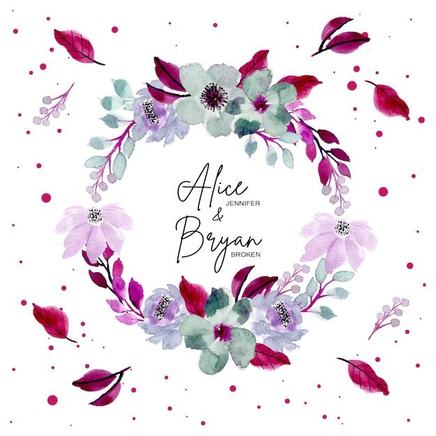 Bonita corona floral acuarela Vector Premium