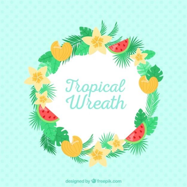 Bonita Corona Con Flores Tropicales Y Frutas Descargar Vectores Gratis