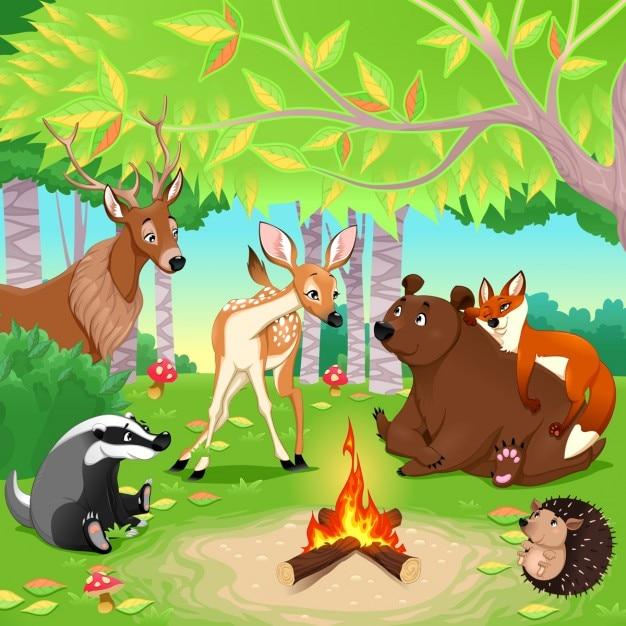 Bonita escena con animales en un bosque Vector Gratis