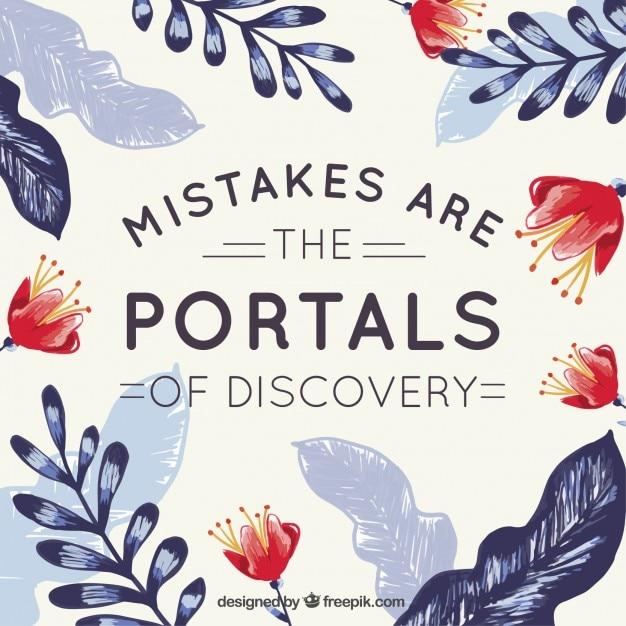 Bonita escritura sobre errores con hojas y flores pintadas a mano   Vector Gratis