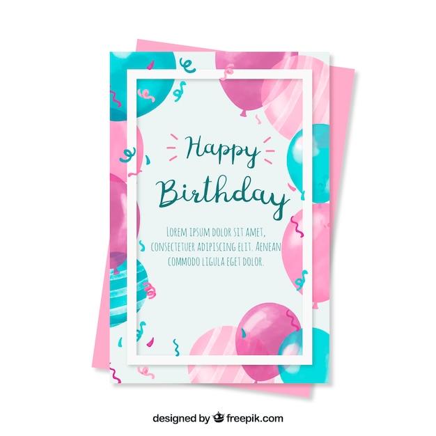 Bonita felicitación de cumpleaños con globos de acuarela vector gratuito