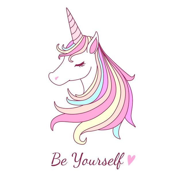 Bonita ilustración de unicornio con dulce tono de color pastel ...