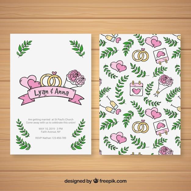 Bonita invitación de boda dibujada a mano con un patrón | Descargar ...