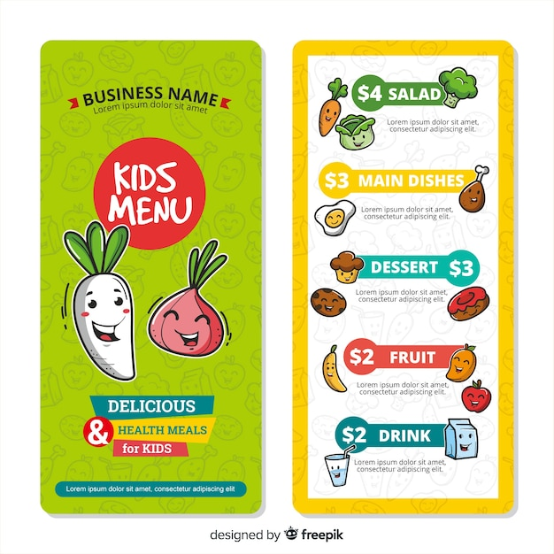 Bonita plantilla de menú para niños vector gratuito