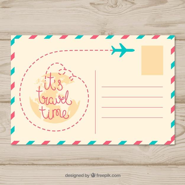 Bonita plantilla de tarjeta postal de viaje vector gratuito