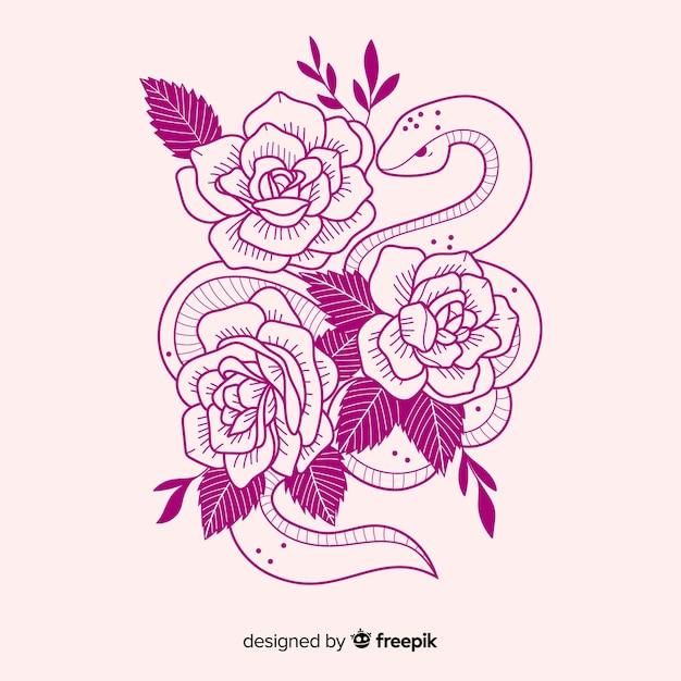 Bonita serpiente dibujada a mano con flores vector gratuito