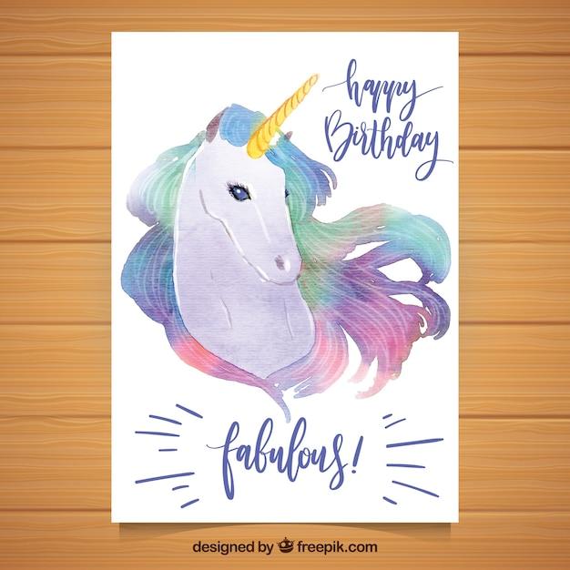 027edc891f237 Bonita tarjeta de cumpleaños con unicornio de acuarela