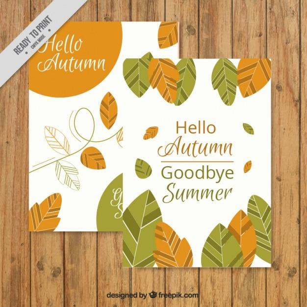 Bonita tarjeta de otoño con hojas y frases \