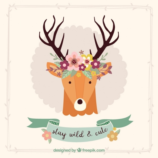 Bonita tarjeta decorativa de ciervo con detalles florales vector gratuito