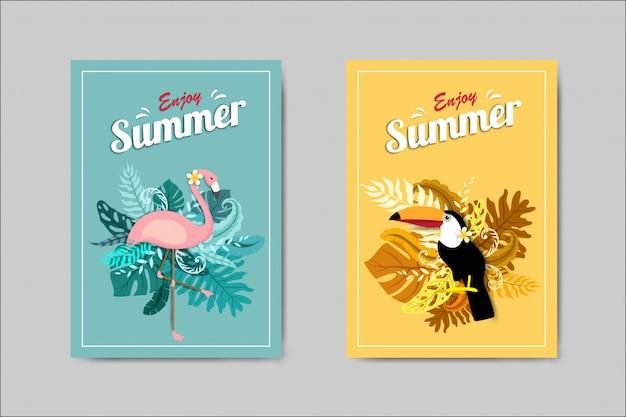 Bonita tarjeta de verano con flamenco y tucán. Vector Premium