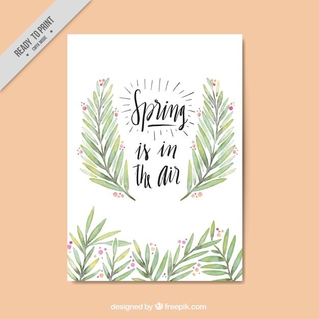 Bonita tarjeta vintage de primavera con hojas de acuarela ...