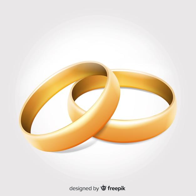Bonitas alianzas de boda doradas realistas vector gratuito