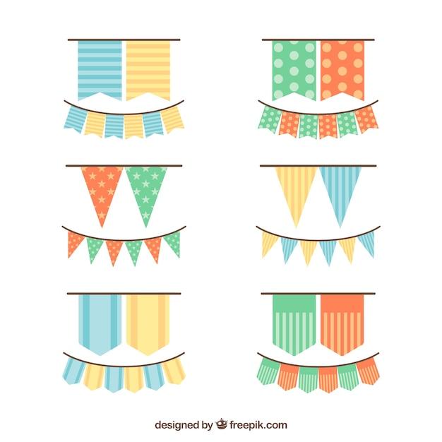 Bonitas guirnaldas de cumpleaños en diseño plano vector gratuito