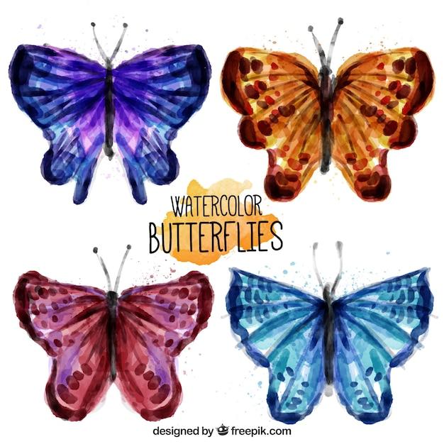 Bonitas Mariposas De Colores De Acuarela Descargar Vectores Gratis