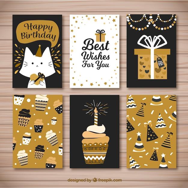 Bonitas tarjetas retro doradas de cumpleaños Vector Gratis