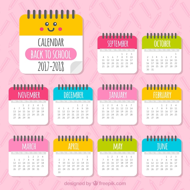 Bonito Calendario 2017 2018 Descargar Vectores Gratis