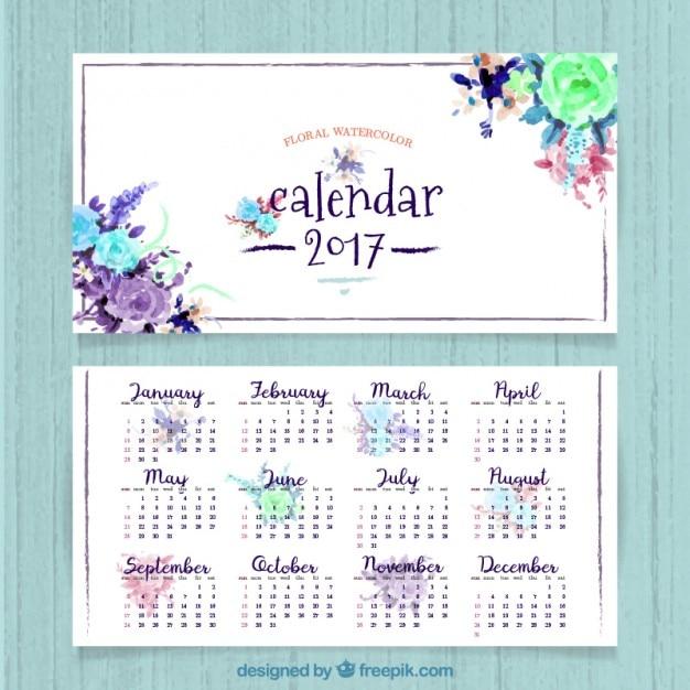 Bonito calendario de 2017 de flores de acuarela vector gratuito