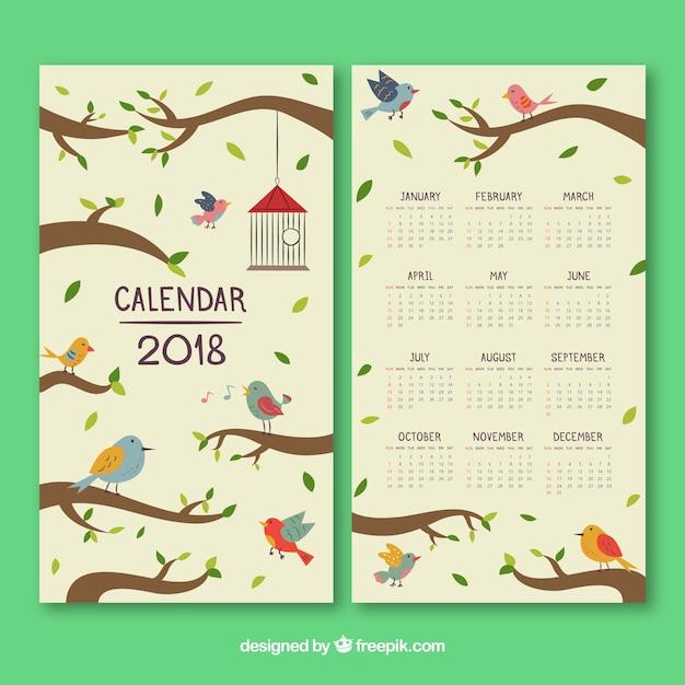 Bonito calendario 2018 Vector Gratis