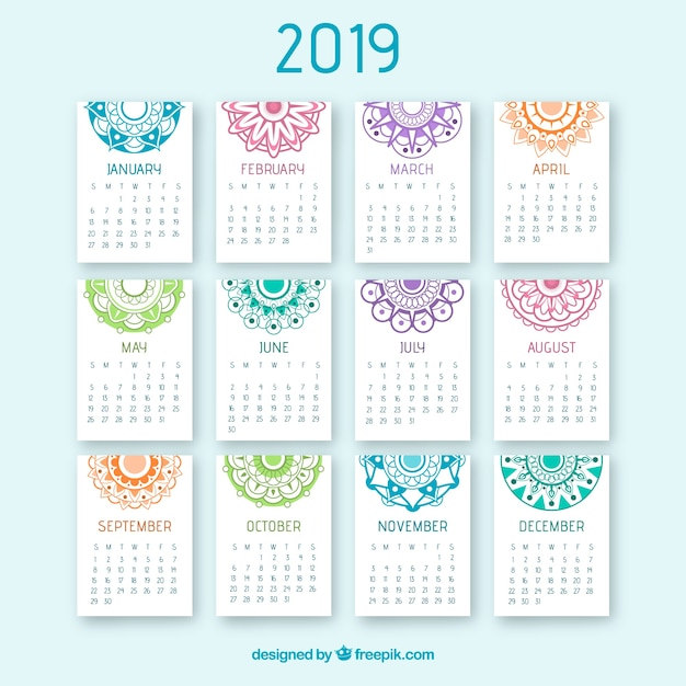 Bonito Calendario 2019 Con Mandalas Descargar Vectores Gratis