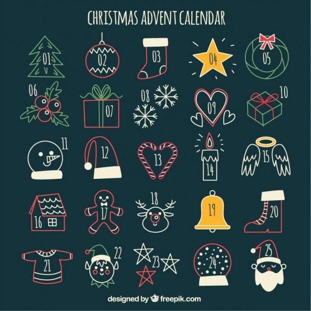 bonito calendario de adviento con bocetos navideos vector gratis