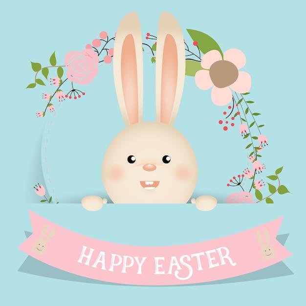 Bonito conejo de pasua con cinta y flores vector gratuito