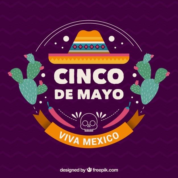 Bonito fondo del cinco de mayo con sombrero mexicano y cactus ... 18657e720da