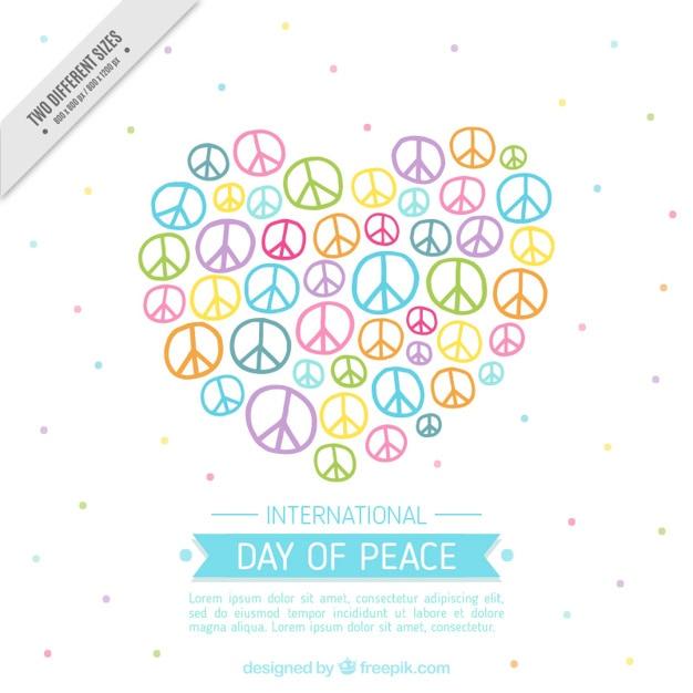 Bonito Fondo De Corazón Hecho De Símbolos De La Paz Descargar