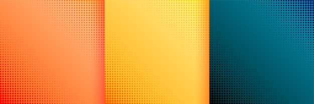 Bonito fondo de papel tapiz de semitono conjunto de tres vector gratuito