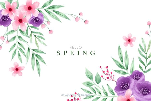 Bonito fondo de primavera con flores de acuarela vector gratuito