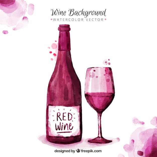 Bonito fondo de vino pintado con acuarelas vector gratuito