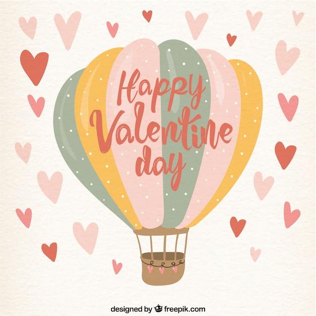 Bonito fondo vintage de feliz valentín con globo aerostático  Vector Gratis